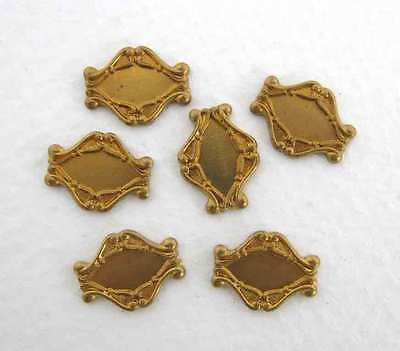 Vintage Brass Stamping Navette Setting Filigree for Cabochon 9x4mm