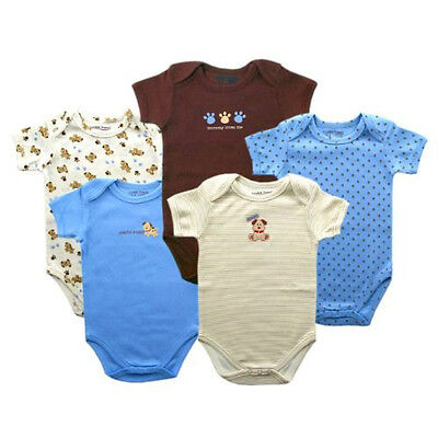 Luvable Friends 5-Pc BABY BODYSUITS Boy Girl Infant 0-3 Romper Onesies Puppy NEW