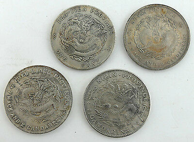 Set of 4 Different Old Token Chinese Dragon Dollar Coins