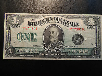 1923 DOMINION OF CANADA $1 ONE DOLLAR D7259891 BC-25n BLACK SEAL GROUP 3