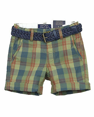 Mayoral Boy's Plaid Shorts with Belt, Sizes 2-9