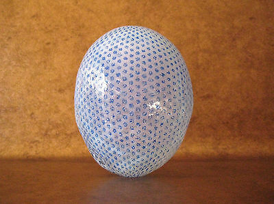 "ART GLASS ""EGG"" VASE Blue/White HAND-BLOWN Signed/Dated 1985 Scandinavia VTG"