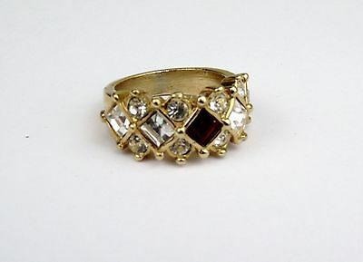 Vintage Bright Gold Plated Ladies Art Deco Design Ruby Red Cz Ladies Ring Size O