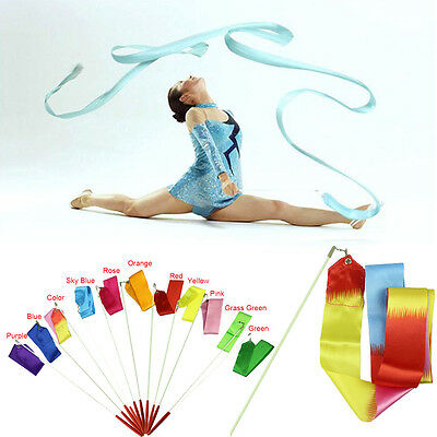 4M Dancing Ribbon Streamer Gym Rhythmic Rod Art Gymnastic Ballet Twirling Stick