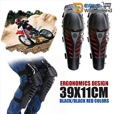 Black Red Motorcycle Protective Gear Knee Pads Protector Body Guards Pair Kit