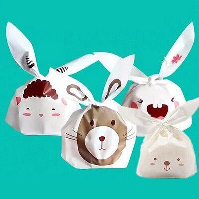 20Pcs Easter Rabbit cello cellophane Kids Party Wedding Favour Biscuit Gift Bags