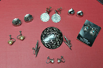 Sterling Silver 925 Lot of 7 Pairs Earrings &1 Matching Etched Brooch Wearable