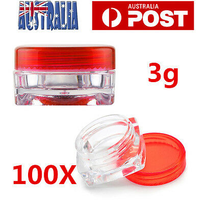 100Pcs Face Cream Lip Balm Container Cosmetic Empty Jar Eyeshadow Makeup Pot Red