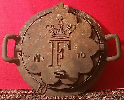KING FREDERICK danish heart waffle cast iron grill vtg royal norse scan design
