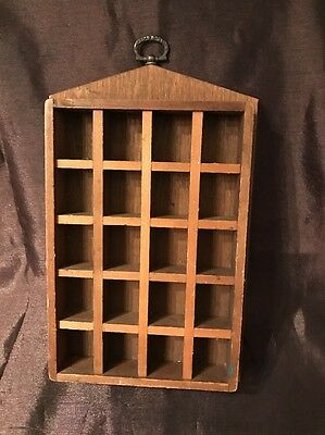 Vintage Thimble Box- 20 Thimbles & Small Wooden Display Box - Case - Holder