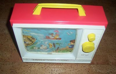 Vintage Fisher Price-- Wind Up Music Player and Scrolling TV screen