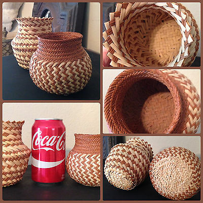 2 Intricately Double Hand Woven High Quality Vintage Mexican Tarahumara Baskets