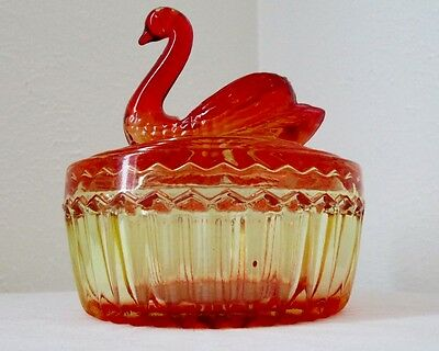 Jeannette Carnival Glass Orange Candy Powder Dish with Swan Lid