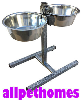 2 Pet Bowls Adjustable Height Dog Cat Food Water Dish Stand Removable Two Bowl