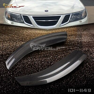 Carbon Fiber Eyebrow Eyelid Eyebrow Lid Headlight Covers for Saab	9 3 2002 2007