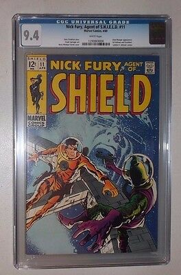 Nick Fury Agent of SHIELD #11 (CGC 9.4 White)  1969 Silver Age    Tough in grade