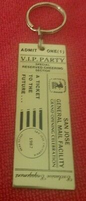 Brass Key Ring & SAN JOSE GENERAL MAIL FACILITY Admit One VIP Party Ticket
