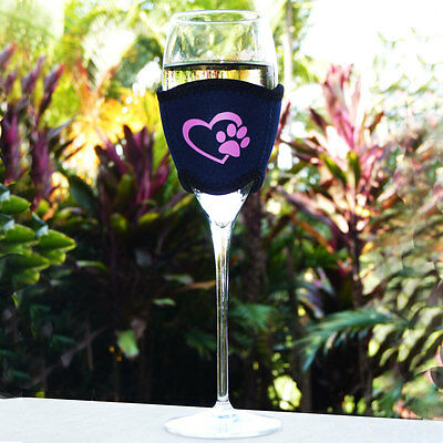 Neoprene Wine Cooler with Pink Paw in Heart Design