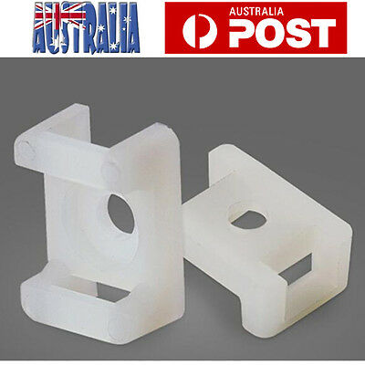 200pcs Screw Fixing Cable Zip Tie Mount Base Saddle Cable Holder Plastic White