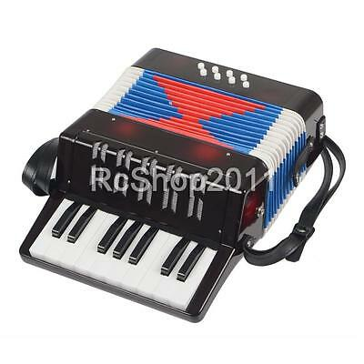 17-Key 8 Bass Piano Accordian Mini Hand Held Musical Toy for Kids Children Black