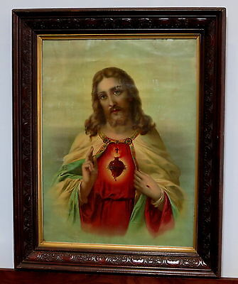 Large Art Nouveau Religious Picture In Beautiful Wooden Frame Jesus Sacred Heart