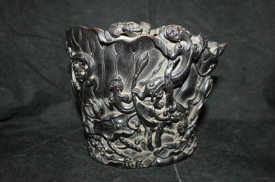 Rare unique chinese old really zi tan wood carved  dragon&flower  brush pot
