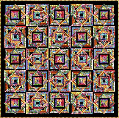 "TROPPO LOCO - 91"" - Black - Pre-cut Patchwork Quilt Kit by Quilt-Addicts Queen"