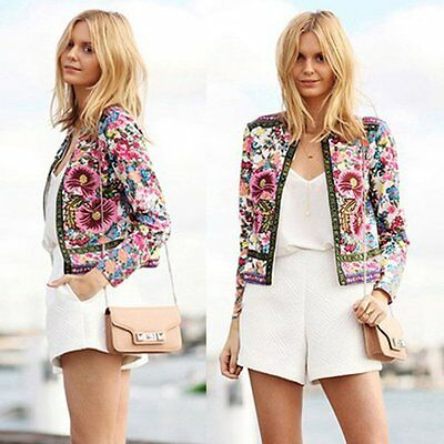 Fashion Womens Long Sleeve Floral Casual Blazer Suit Jacket Coat Outwear S-XL