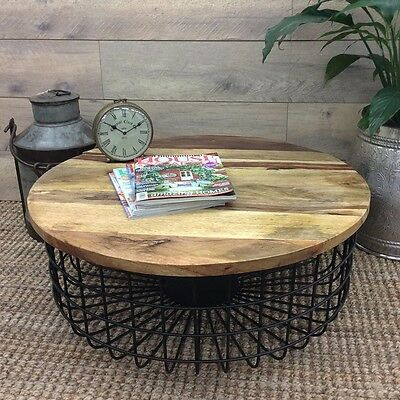 Large Colorado Coffee Table Wine Side Lamp Timber Top Metal Round Decor Black