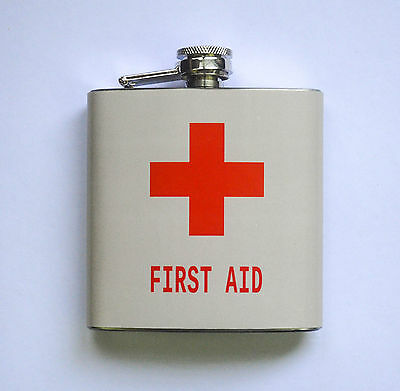 FLASQUE / FLASK whisky image FIRST AID premier secours contenance 6 oz (170 ml)