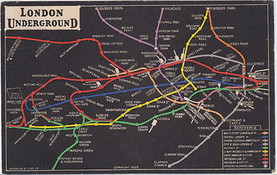Original  London Underground Map Postcard, posted 1910 Hornsey to Paris