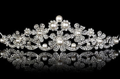Victorian Inspired 7.65Ct. Rose Cut Diamond Pearl Silver Antique Tiara Crown
