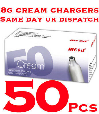 8g Whipped Cream Chargers Whipper NOS N2O Nitrous Oxide Canisters MOSA - 50 PCS