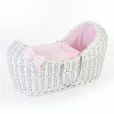 Wicker Pod Moses Basket Dressings In 100% Cotton Waffle Fabric. 2 Colours Uk Mfd