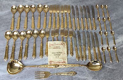 51 Piece 24 C Gold Plated Diner Set - Made In Italy