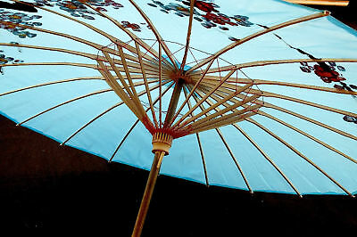 Japanese Blue Cherry Blossom Parasol Umbrella Chinese Wedding Dance Party