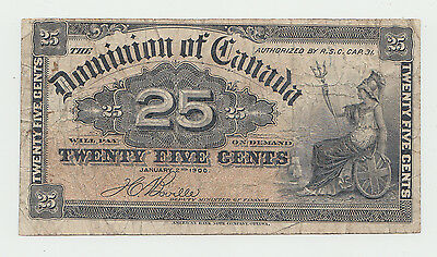 "Dominion of Canada 25 cents 1-2- 1900 ""F"" Pick 9b"