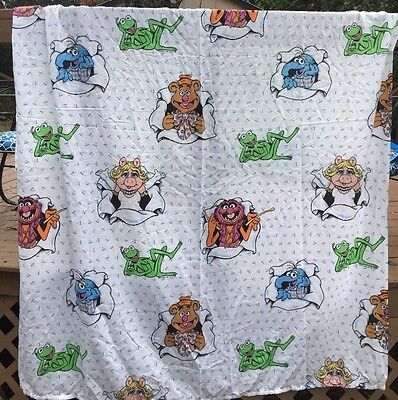Vintage Jim Henson Muppets Kermit Miss Piggy  Twin Fitted & Flat Sheet 1990