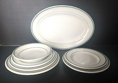 SET OF 7 Vintage SHENANGO White With GREEN STRIPE Diner-Style PLATTER PLATE BOWL