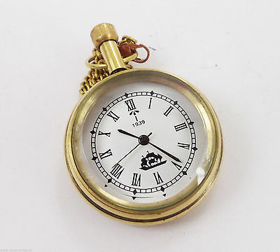 Vintage Reproduction Fashion Look golden Ship Designed Pocket Watch With Chain