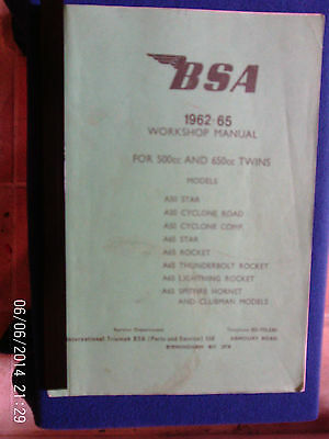 BSA 500 AND 650cc 1962 - 1965  TWINS WORKSHOP MANUAL
