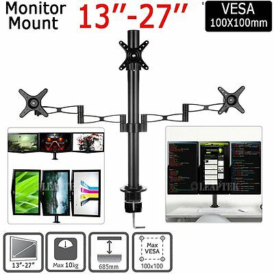 """Triple VESA Monitor Arm Stand Desk Mount LCD LED TV Display for 13-27"""" Screens"""