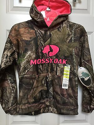 Mossy Oak Girl's Youth Large Camo Hoodie Pink Trim NEW