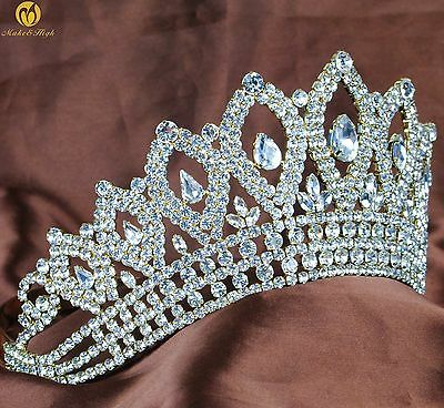 """Vintage Gold Tiara 3.5"""" Crown Clear Crystal Bridal Wedding Pageant Party Costume"""