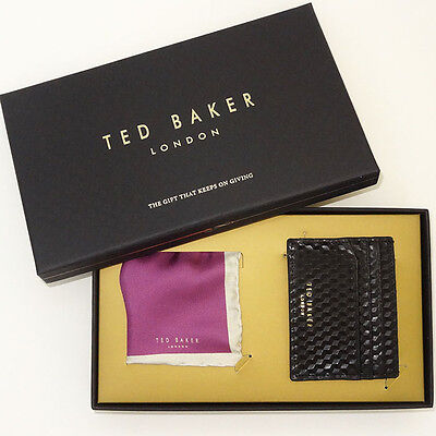 TED BAKER Gift Set NEW Black Card Holder/Wallet and Pocket SQ Great BOXED gift