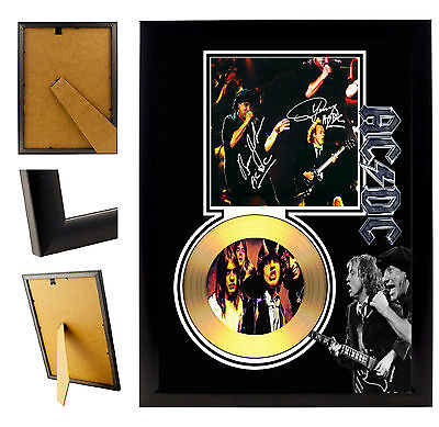 Ac/dc Ac Dc - A4 Signed Framed Gold Vinyl Collectors Cd Display Picture