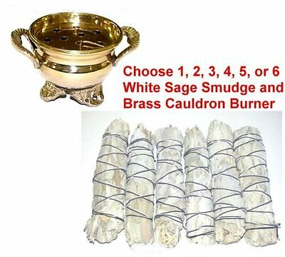 1 Brass Cauldron & White Sage Smudge You Pick How Many Smudges 1, 2, 3, 4, 5 6