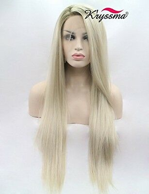 Kryssma Mixed Blonde Ombre Lace Front Wigs Long Synthetic Hair Straight Best