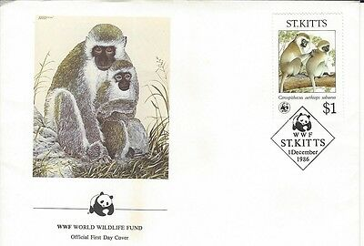 1986 St Kitts 2 different WWF Monkey FDC's