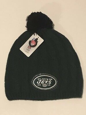 New York Jets Womens Knit Pom Hat NFL New Jets Winter Hat Skully Beanie dd8851680b5